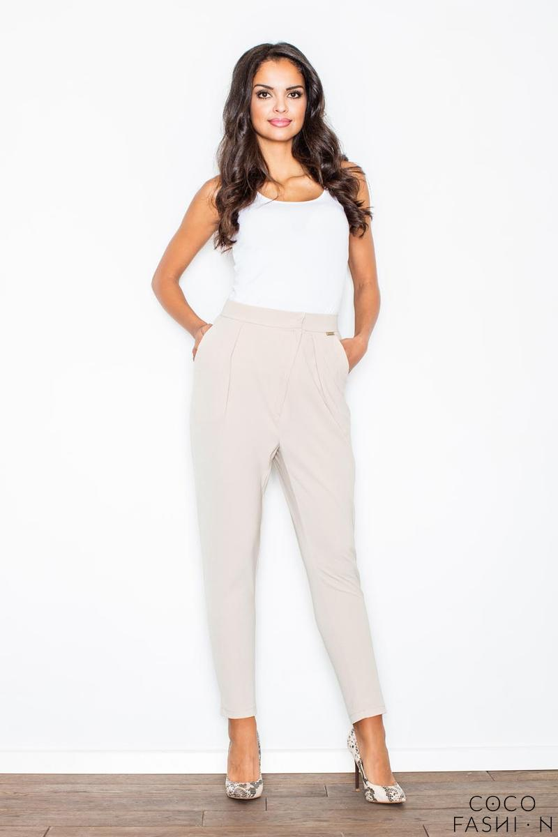 Beige Tapered Legs Asymetrical Closure Casual Pants