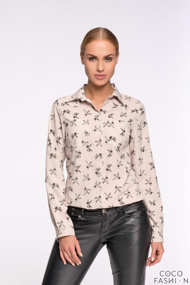 Beige Casual Ladies Shirt with Birds Pattern