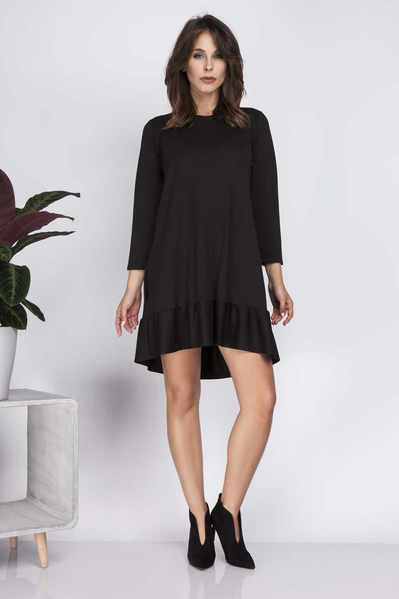 cd25e67131 Black Loose Knee Length Dress with Frill