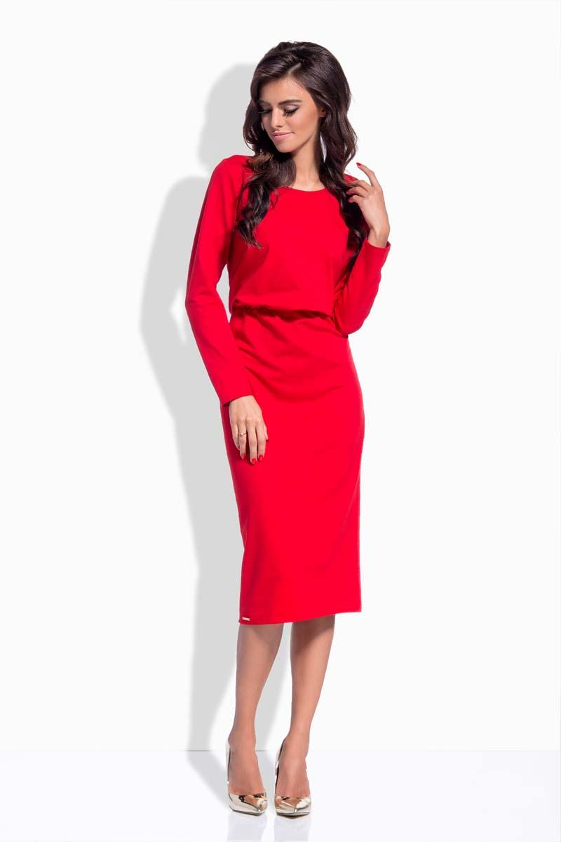 Red Elastic Waist Pencil Dress