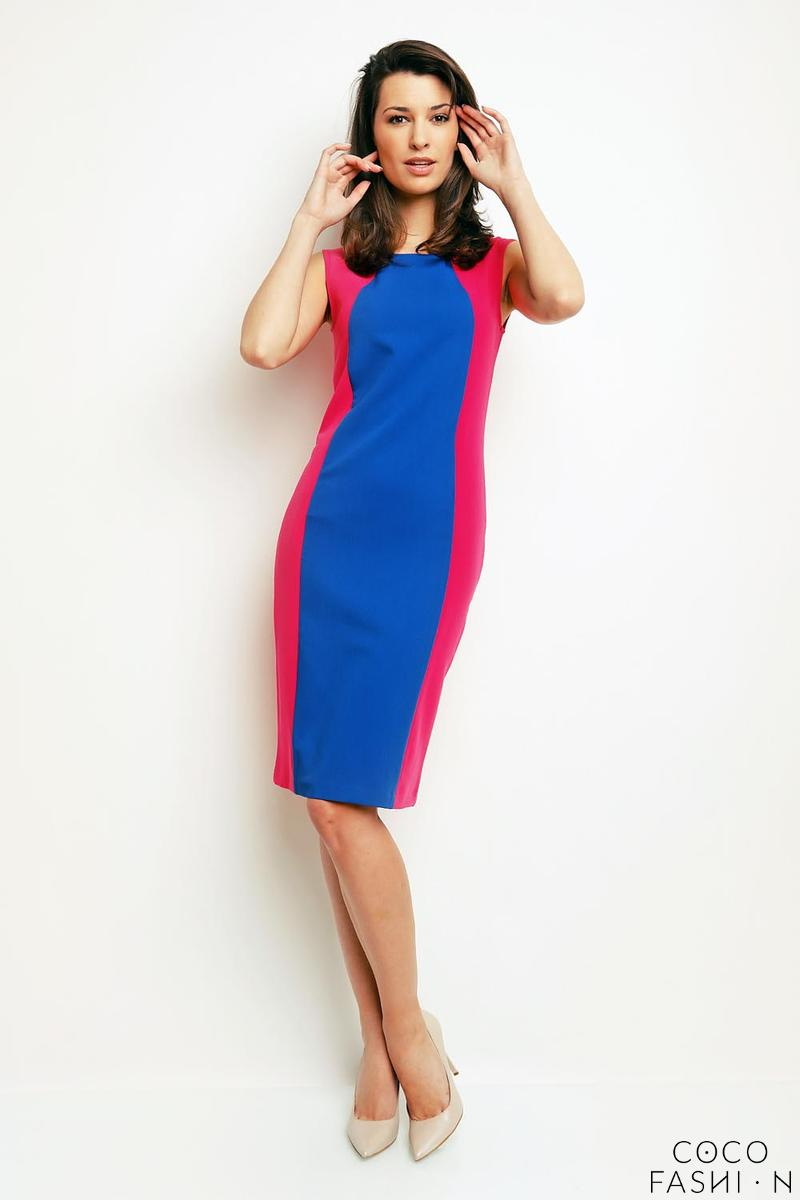 Blue&Pink Simple Sleeveless Dress