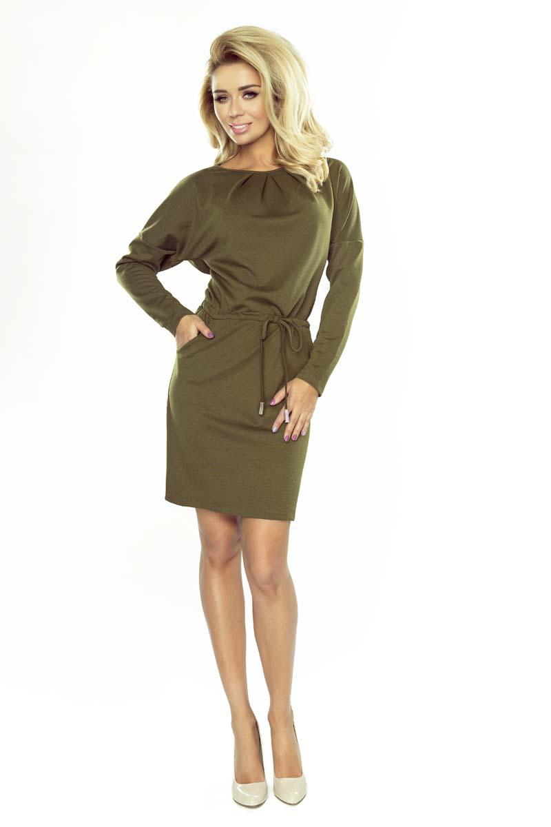 Khaki Mini Dress with Drawstring Waist