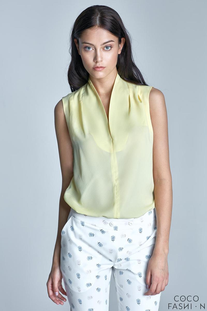 Yellow Sleeveless Stand-up Collar Wrinkled Blouse