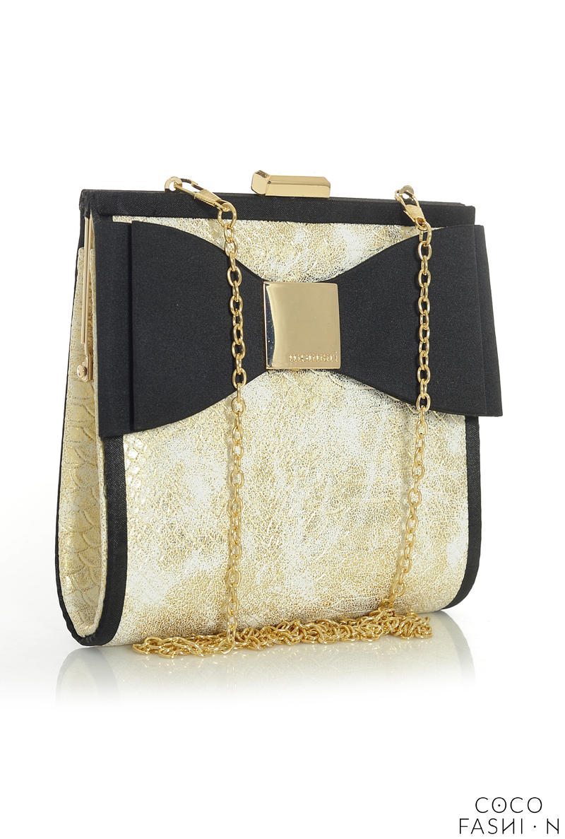 Black&Gold Elegant Evening Clutch Bag with Bow and Chain от cocofashion