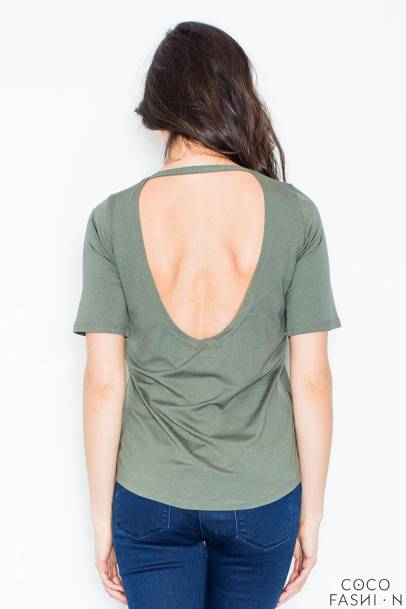 Dark Green Classic Style Cut Out Back T-shirt
