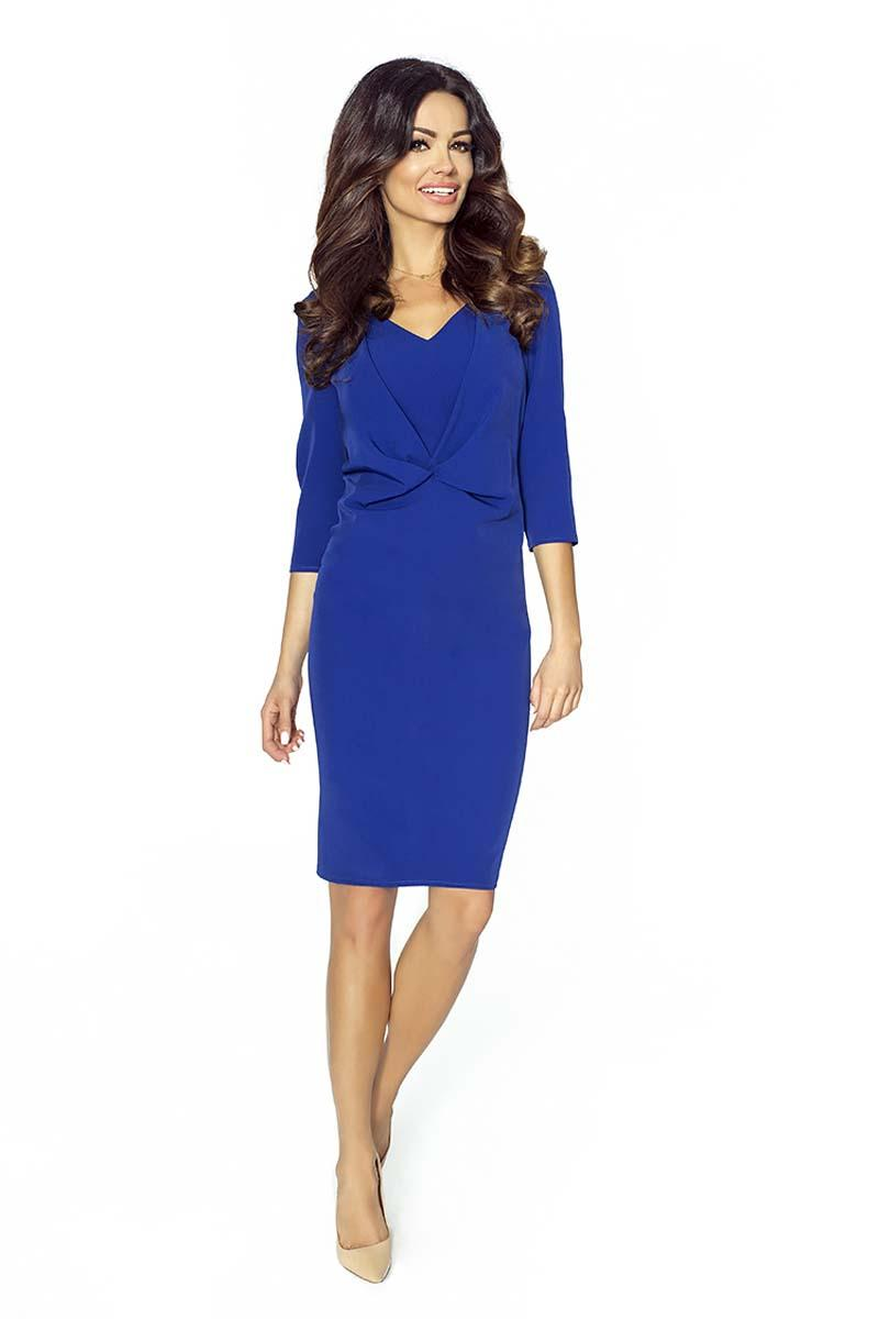 Blue Elegant Pencil Wrinkled Dress