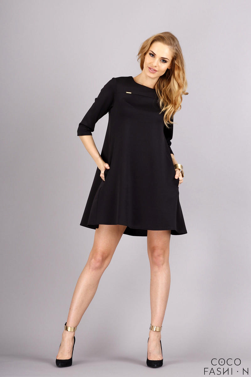 Black Flared Side Pockets 3/4 Sleeves Casual Dress