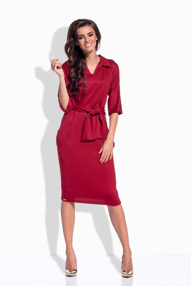 Maroon Pencil Midi Belted Dress