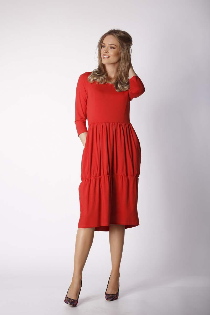 Red Knitted Casual Christmas Dress