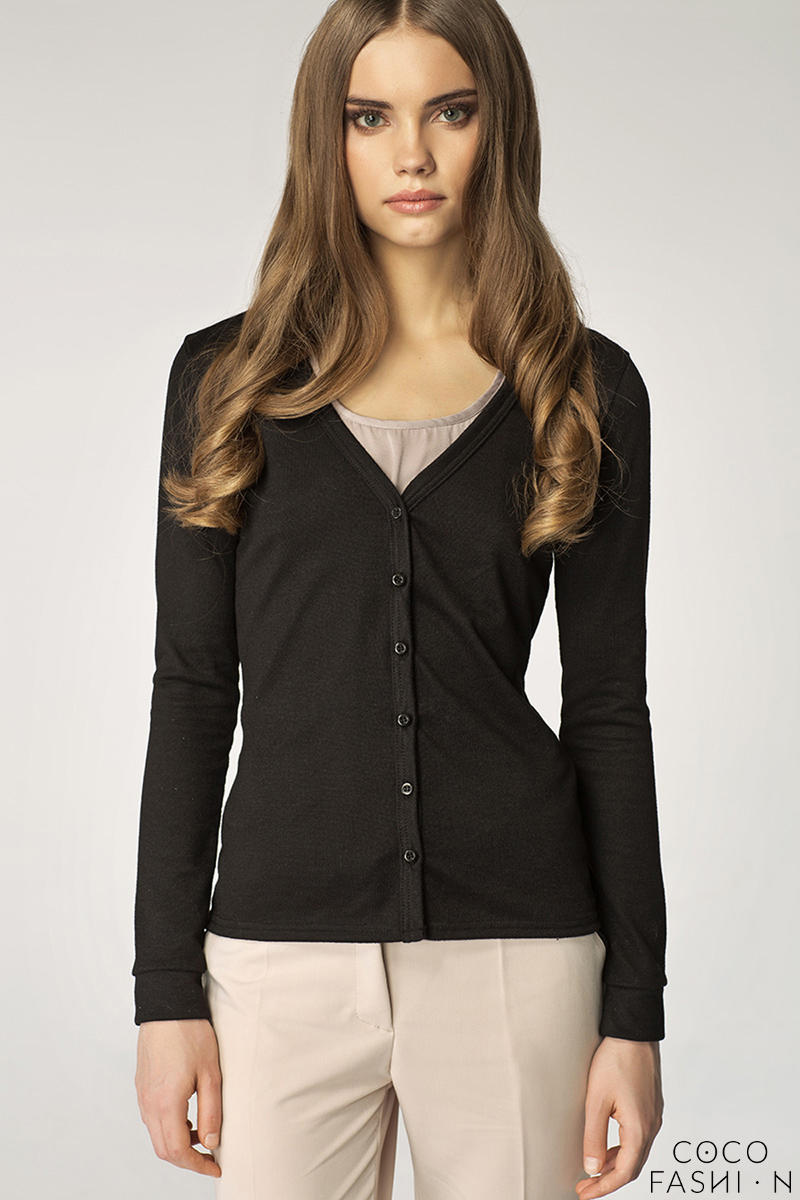 Black V-Neck Button Down Long Sleeves Cardigan