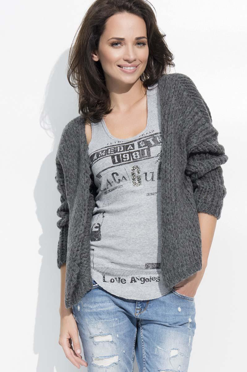 Dark Grey Short Ladies Cardigan