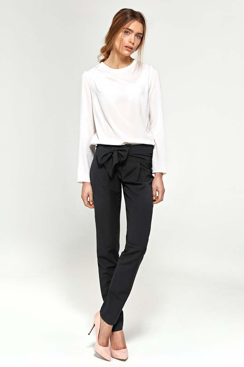 Black  Elegant Navy Pants with Bow