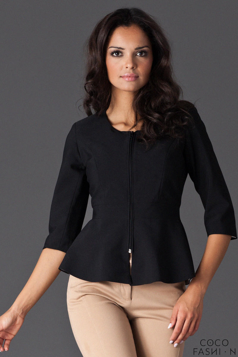 Black Frilled Hemline Blazer with Front Zipper Fastening