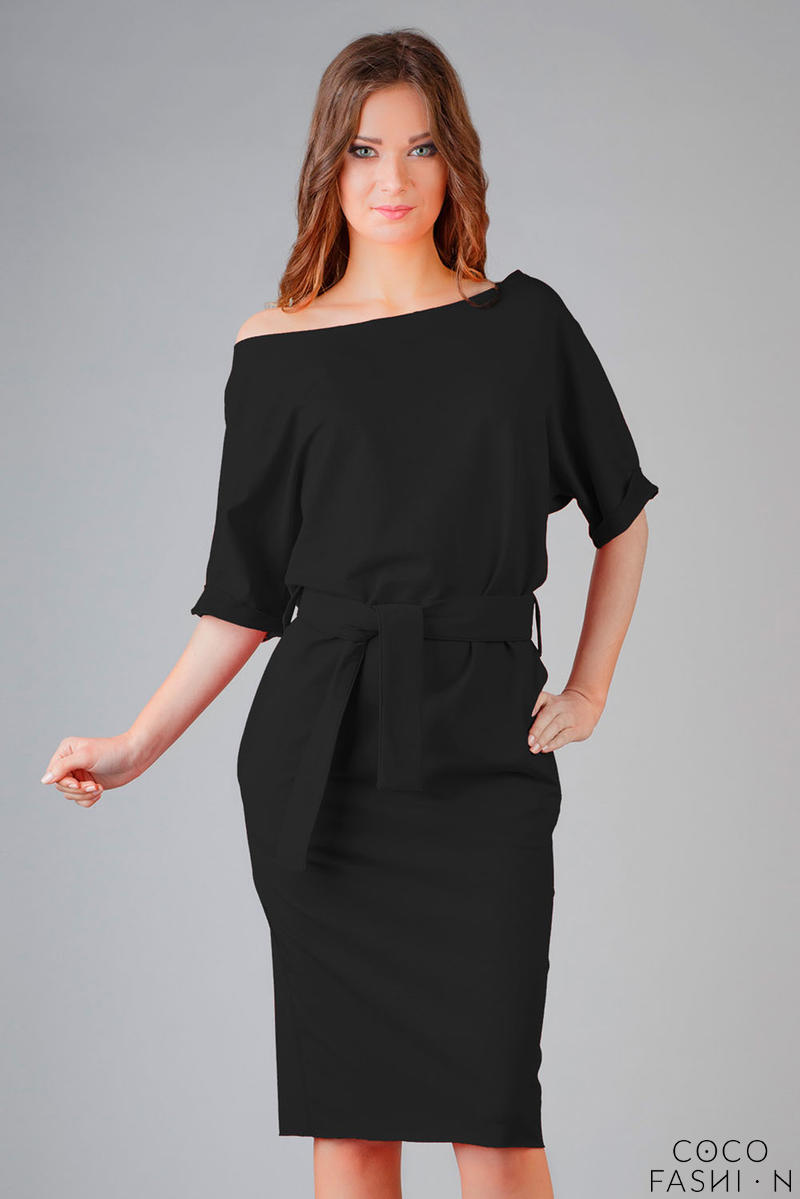 black-loose-neckline-self-tie-belt-casual-dress