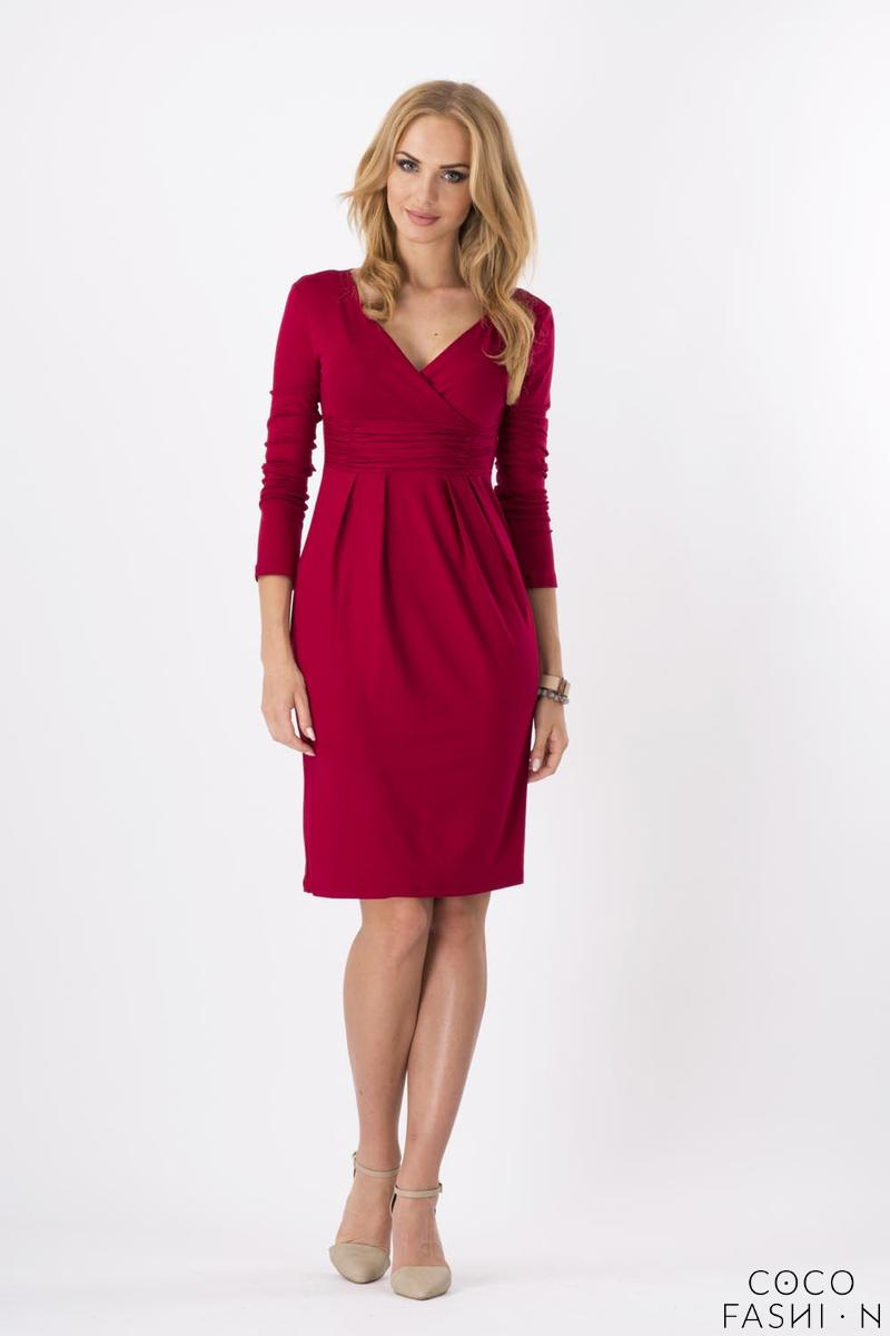 Dark Red Elegant V- Neck Dress