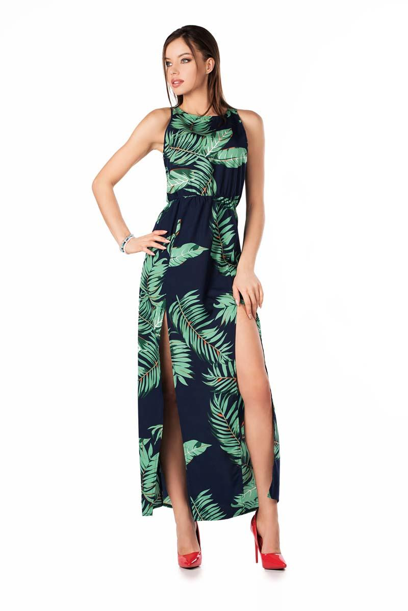 Long Sleeveless Dress with Tropical Print