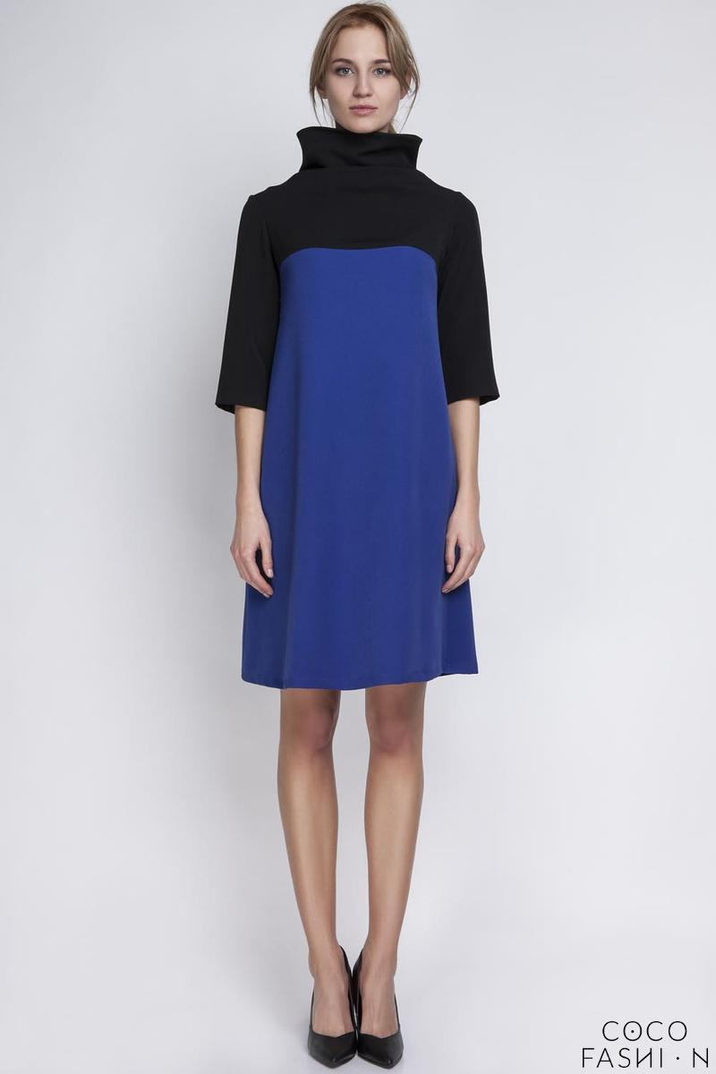 Blue&Black Tourtleneck Dress with Double Fold at The Back