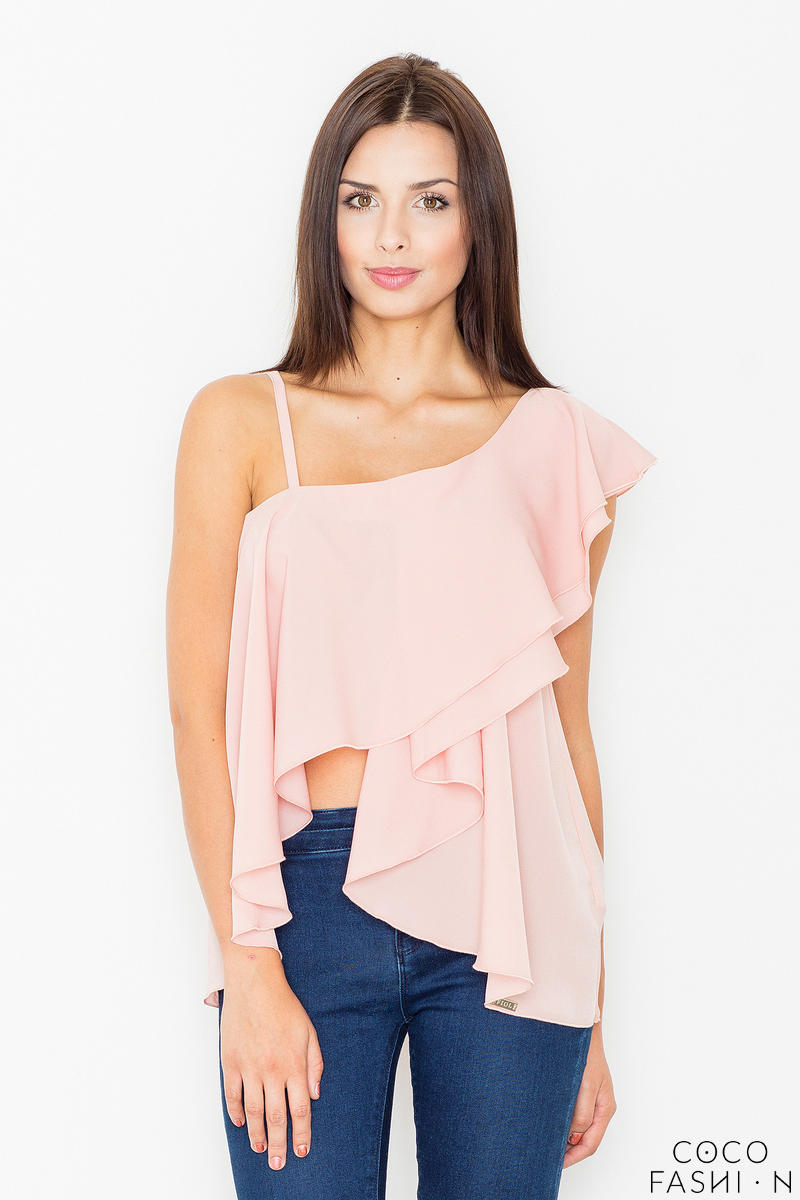 Pink Asymetrical One Shoulders Strap Dress with a Frill