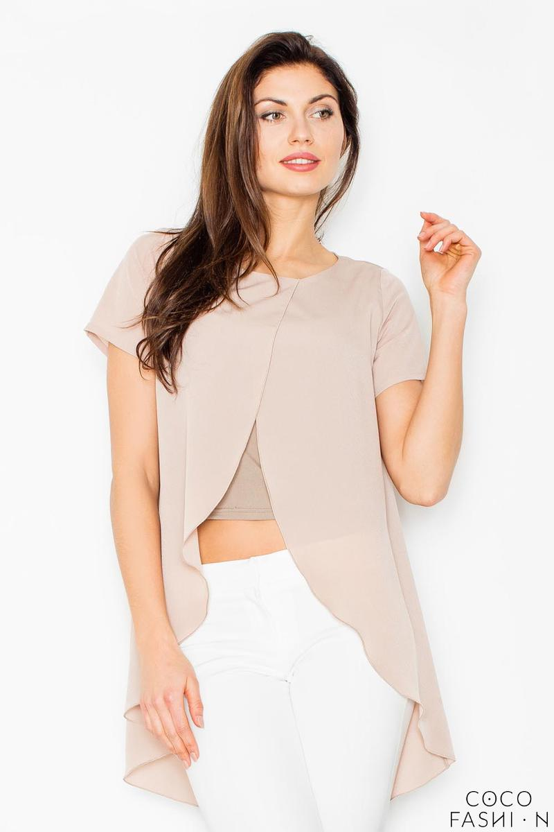 Beige Long Unique Style Blouse