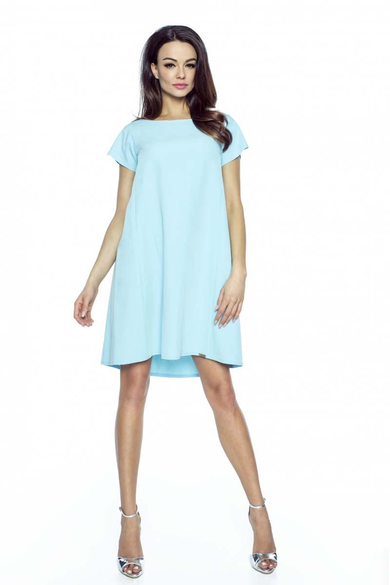 Light Blue Flared Dress with Bow at The Back