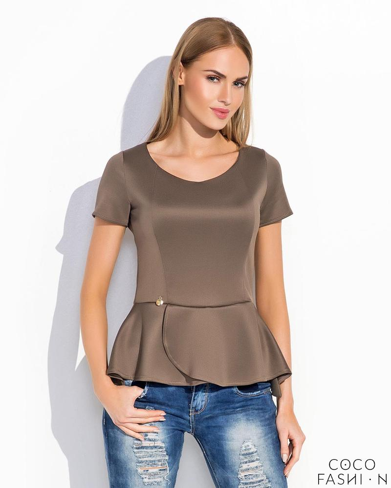 Cappuccino Short Sleeves Peplum Chic Blouse