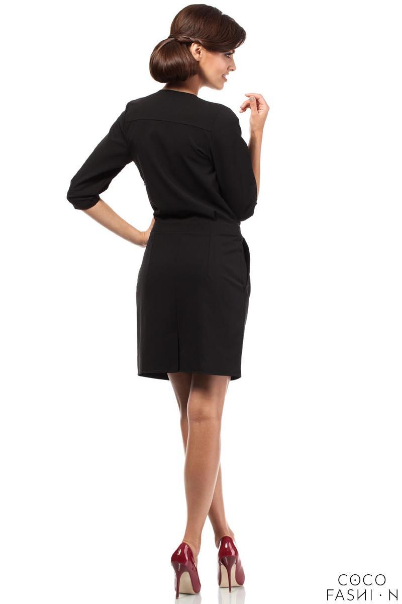 black elegant office style unique collar dress