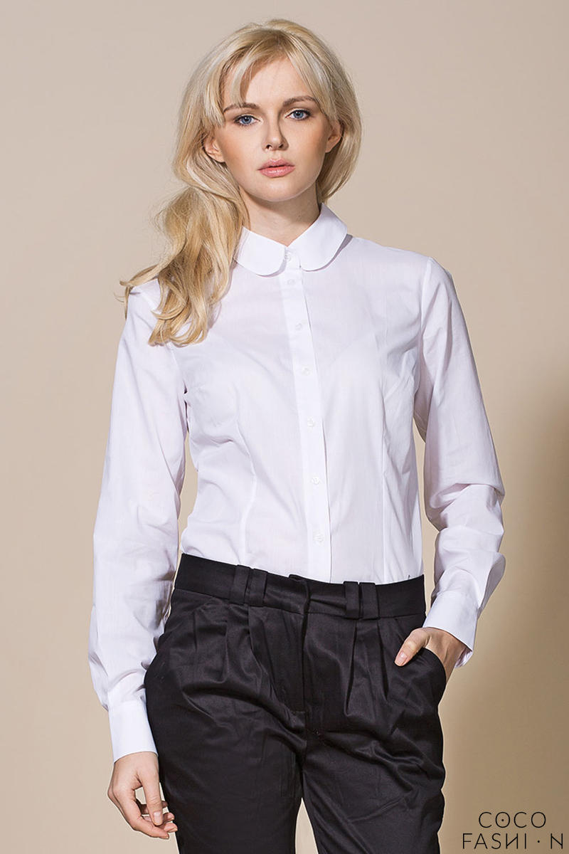 Classic White Vintage Blouse Elegant Office Wear