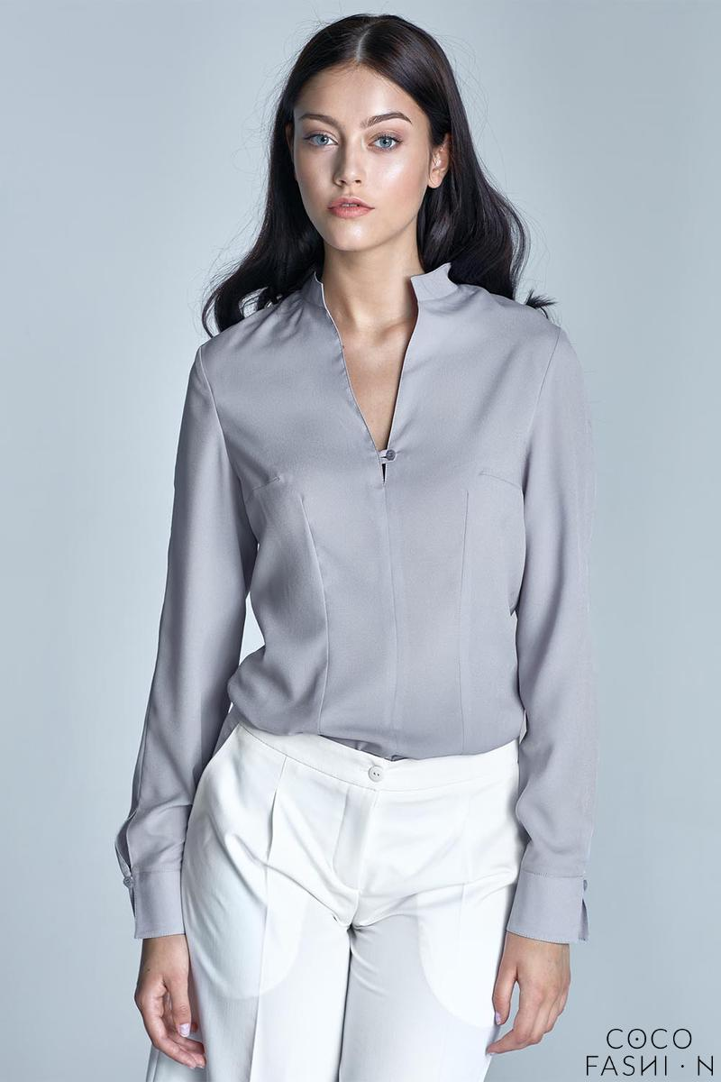 Grey Long Sleeved Stand-up Collar Shirt