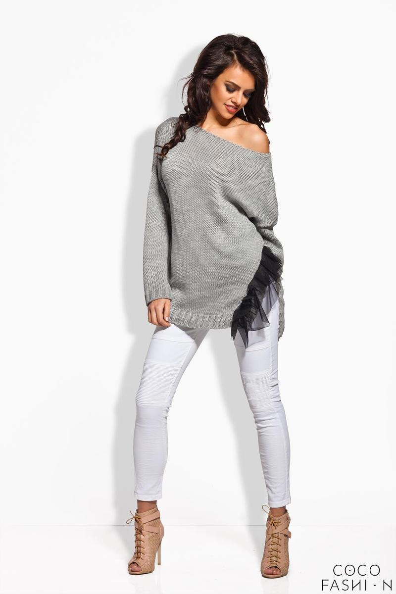 Light Grey Long Sweater with Gauze Frill