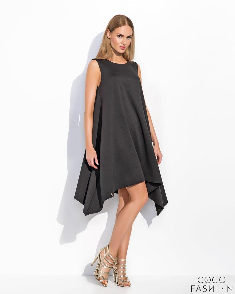 Black Sleeveless Asymetrical Cut Chic Dress
