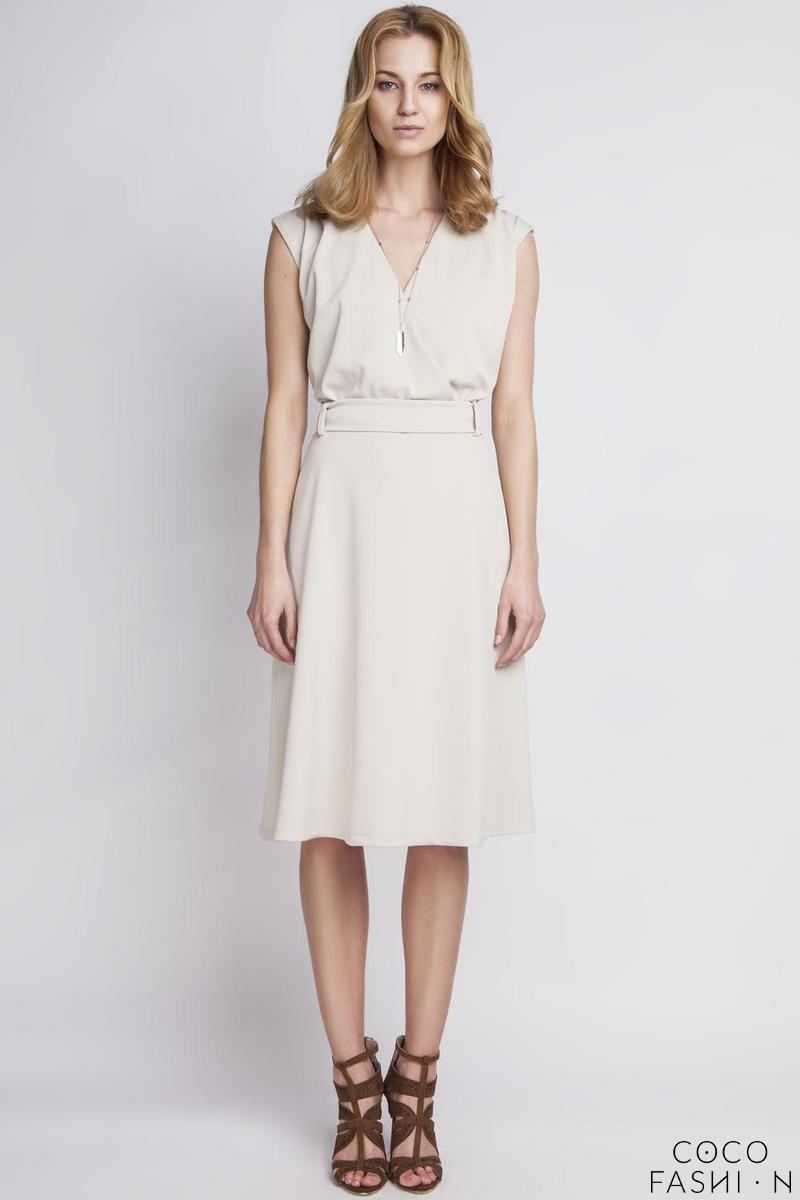 Beige Wrap Collar Midi Dress