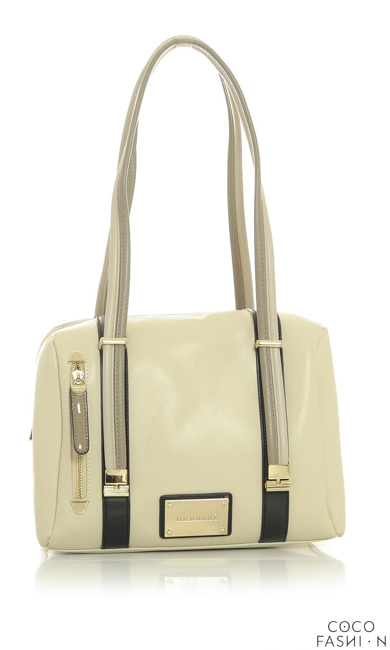 Beige Comfy Long Striped Handles Bag