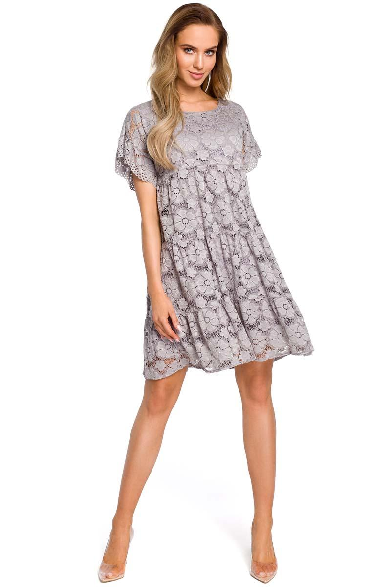 Gray Airy Lace Dress with a Mini Sleeve