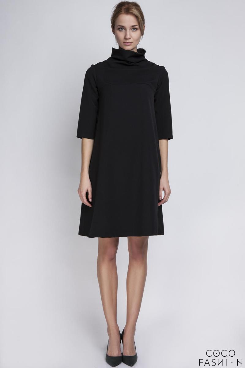 Black Tourtleneck Dress with Double Fold at The Back