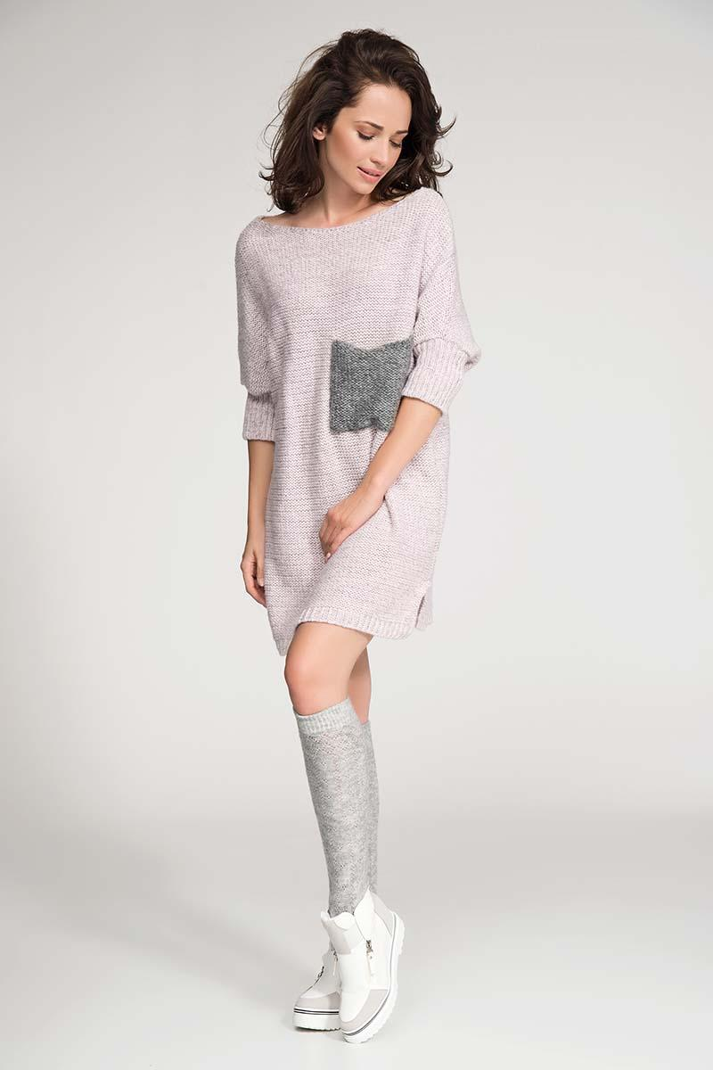 Pink Long Tunic Style Sweater