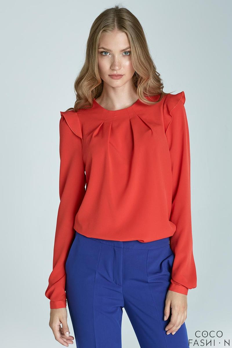 Orange Soft Office Blouse with Frill at The Shoulders