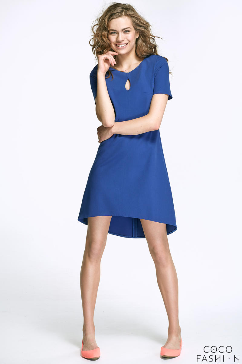 Blue Dipped Hem Dress with Cut Out Neckline