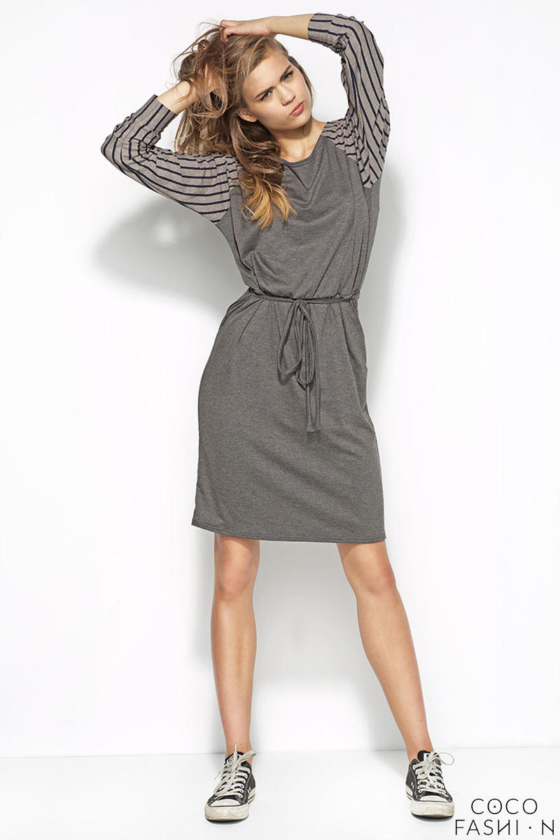 Grey Flecked Dress with Raglan Striped Sleeves and Self Tie Waist Belt от cocofashion