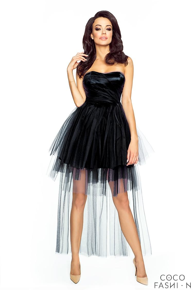 Black Bandeau Prom Tulle Dress