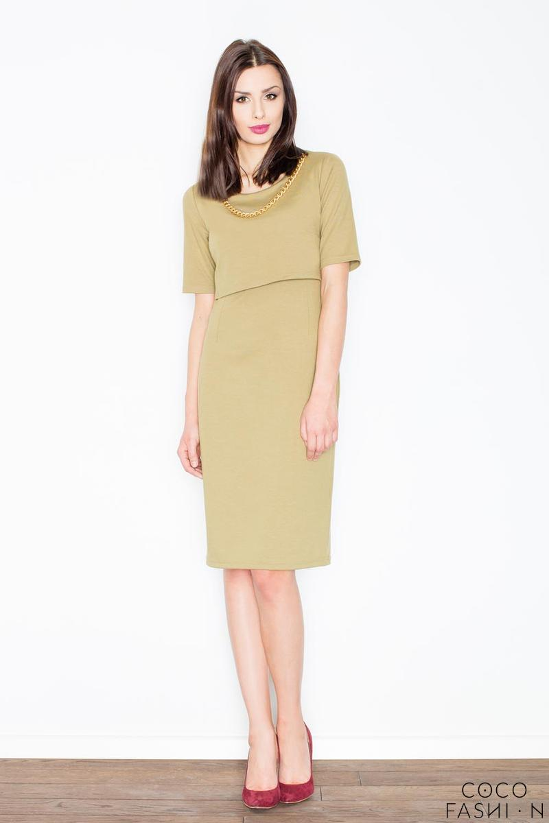 Olive Two Layers Knee Length Dress with Decorative Chain