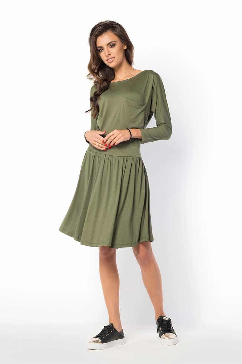 khaki-casual-scoop-neckline-dress