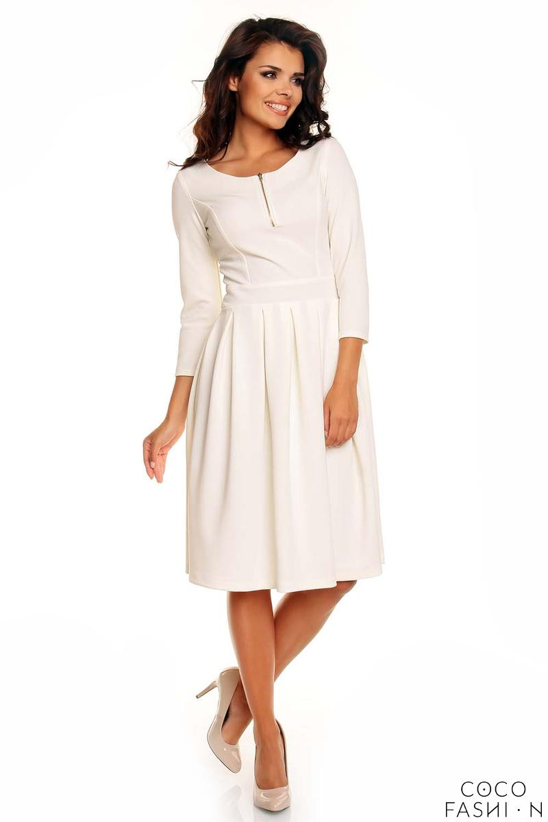 Off White Pleated Flippy Dress with Contrast Neckline Details