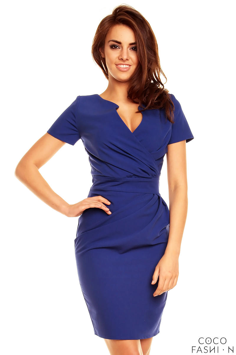 Wrap Around Self Belted Sheath Blue Dress