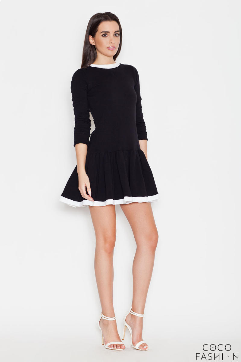 Black Long Sleeves Dress with White Contrasting Piping