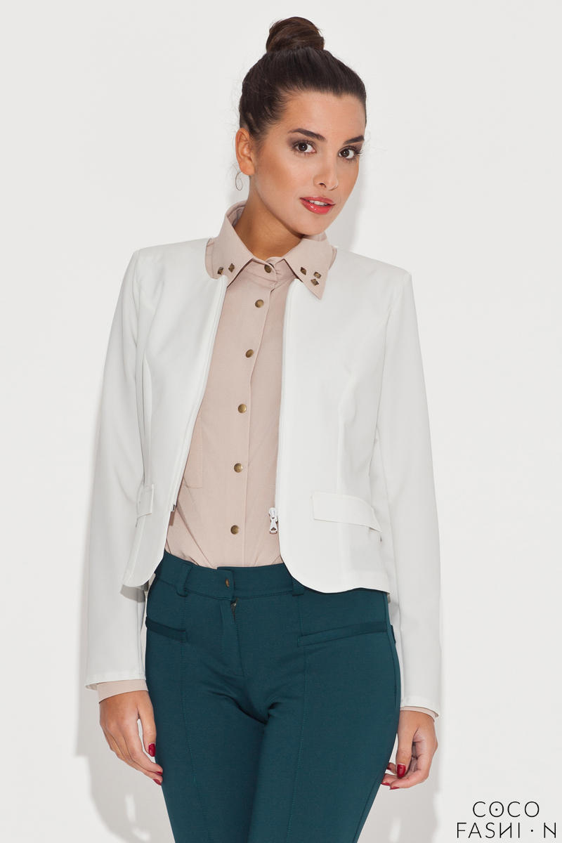 Round Neck Ecru Blazer with Semi Zipper Fastening