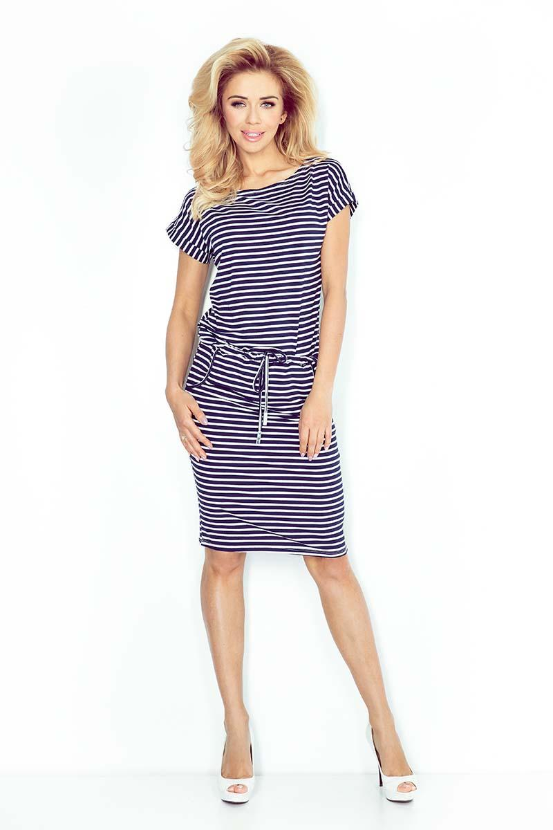Navy Blue White Knit Dress with Tunnel in Tali