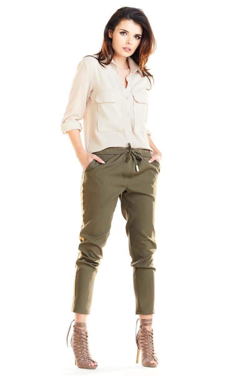 Khaki Casual Pants with Stripes