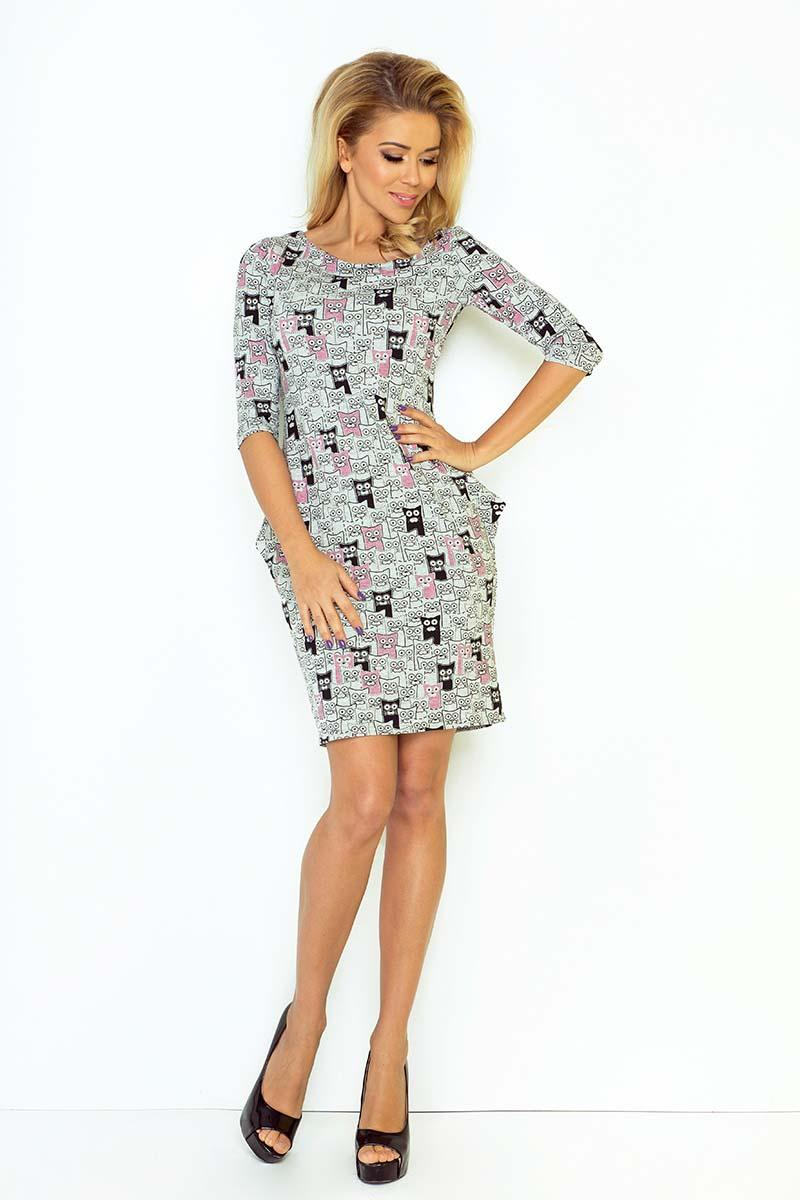 grey-pink-kittens-pattern-mini-dress