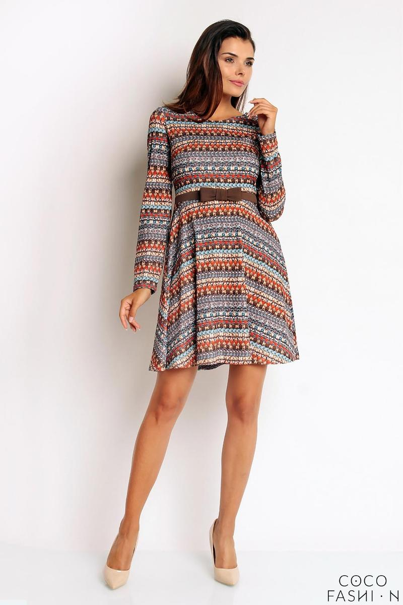 Boho Pattern Flared Belted Dress with Bow