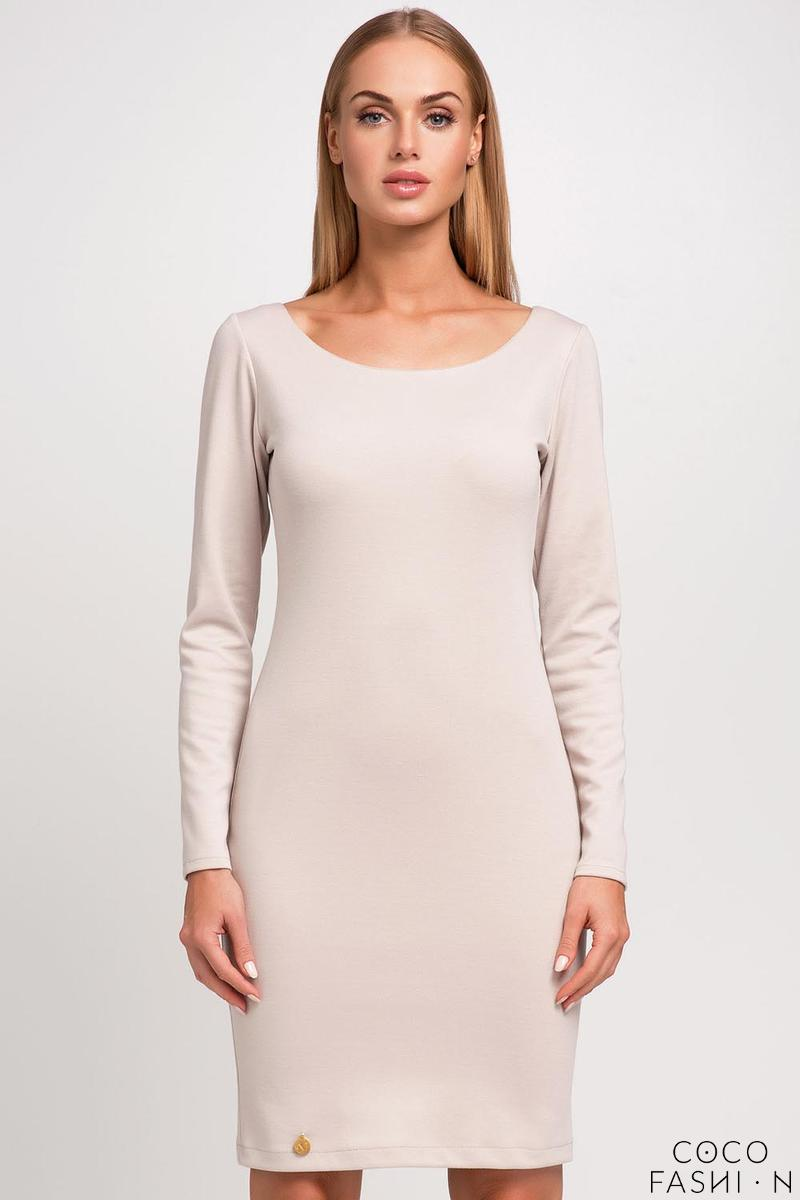 Beżowa Classic Plain Long Sleeves Dress